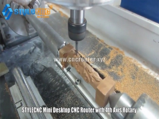 Working video small CNC router with 4th axis rotary