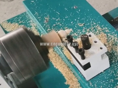 How use mini CNC wood lathe machine to turn wooden craft