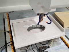 Stone polishing by Stone CNC machining center with automatic tool changer