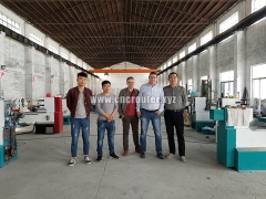 Our Romanian customer visited our <font color='red'>CNC</font> wood Lathe factory