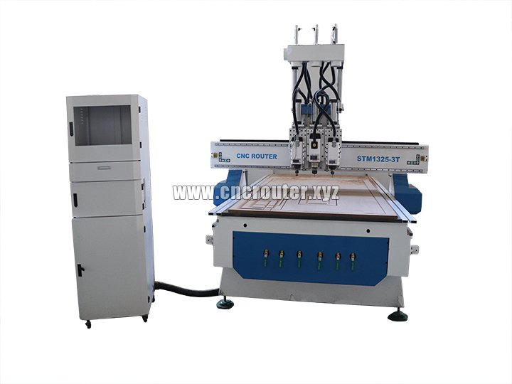 4*8 feet CNC woodworking router with three air cooling spindles