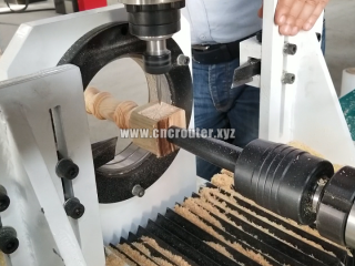 CNC wood turning machine with 4 axis spindle