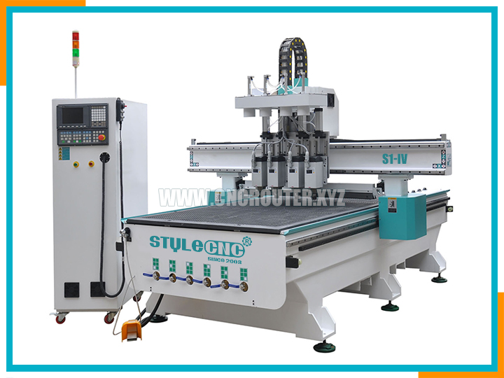 Pneumatic automatic tool changer CNC router with four spindles