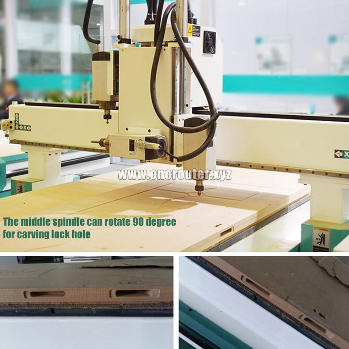 Wooden door lock hole CNC router