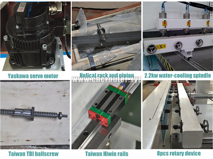 8 heads 4 axis rotary CNC router parts