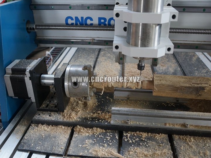 small CNC router with 4th axis rotary
